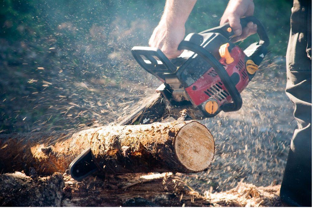 Stihl-chainsaw-sawdust-flying-thin-log -min